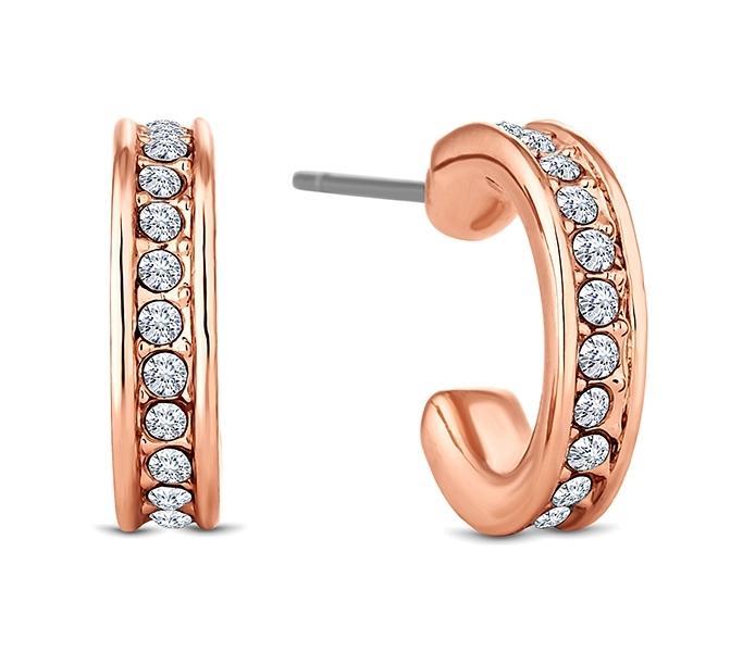 Domino Hoop Earrings in Rose Gold Plate