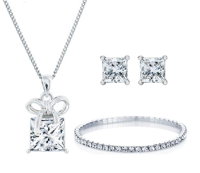 Gift Box Pendant, Princess Stud and Elizabeth Bracelet