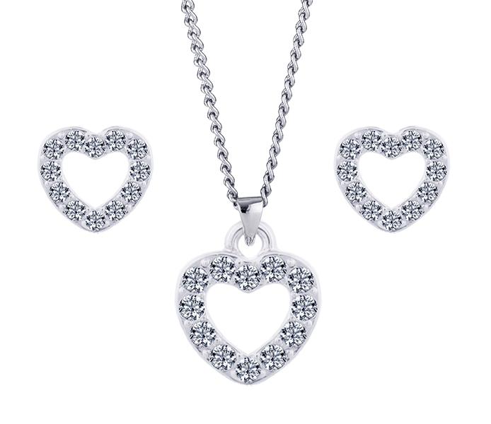 Pavé Heart Pendant and Pavé Heart Studs