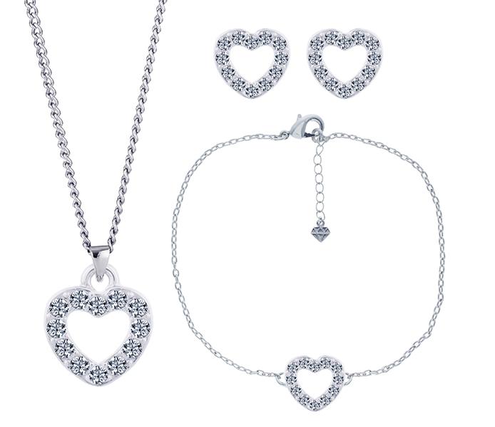 Pavé Heart Pendant, Studs and Bracelet